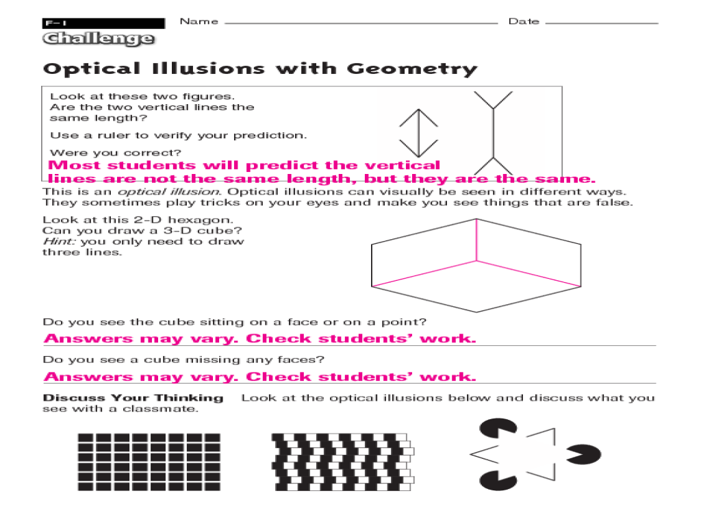 Optical Illusions Worksheet - Synhoff