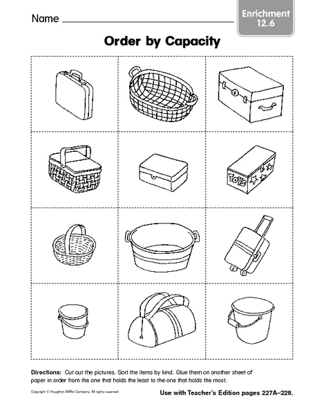 math worksheet : order by capacity enrichment 12 6 kindergarten  1st grade  : Kindergarten Capacity Worksheets
