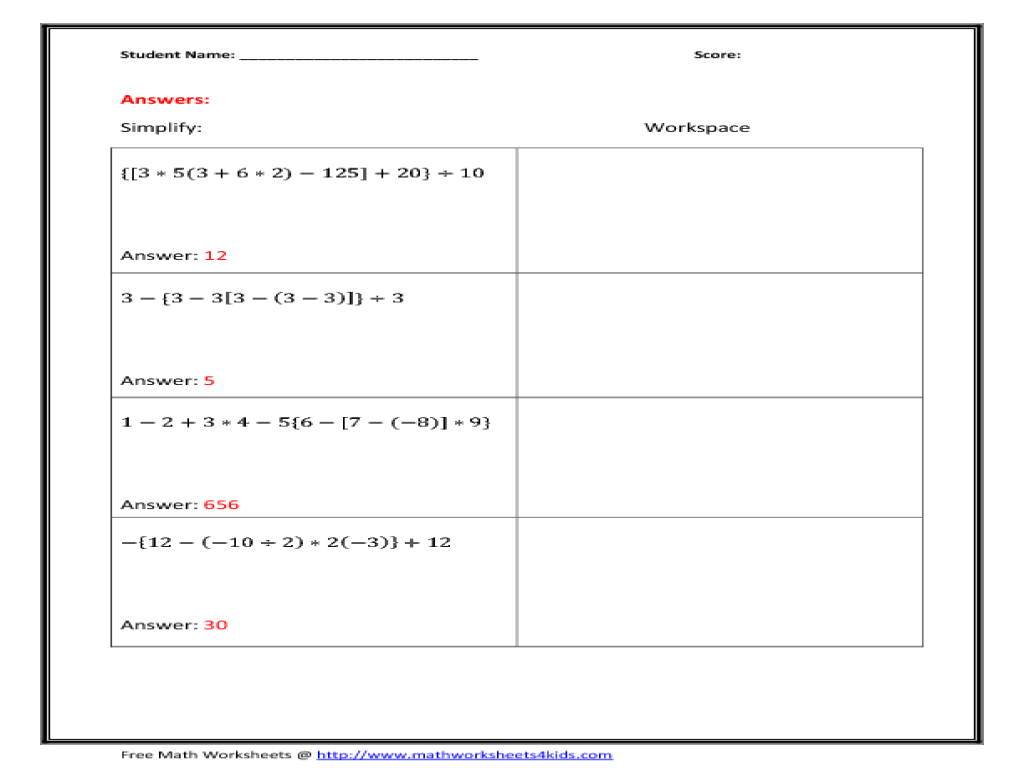 worksheet Pemdas Worksheets 6th Grade hard pemdas worksheet due to order of operations with parenthesis 6th 10th grade