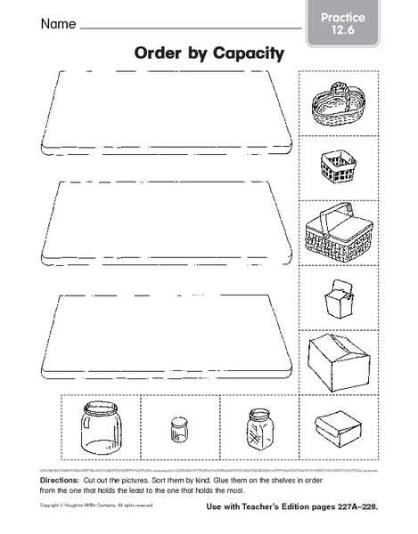 Capacity Worksheets For Kindergarten - Vintagegrn