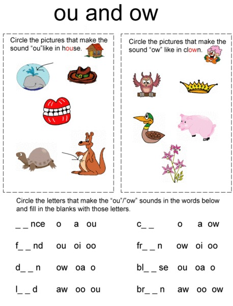 Printables Ou Ow Worksheets ou and ow worksheets davezan kindergarten 2nd grade worksheet lesson planet