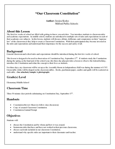 Constitution worksheet 3rd grade