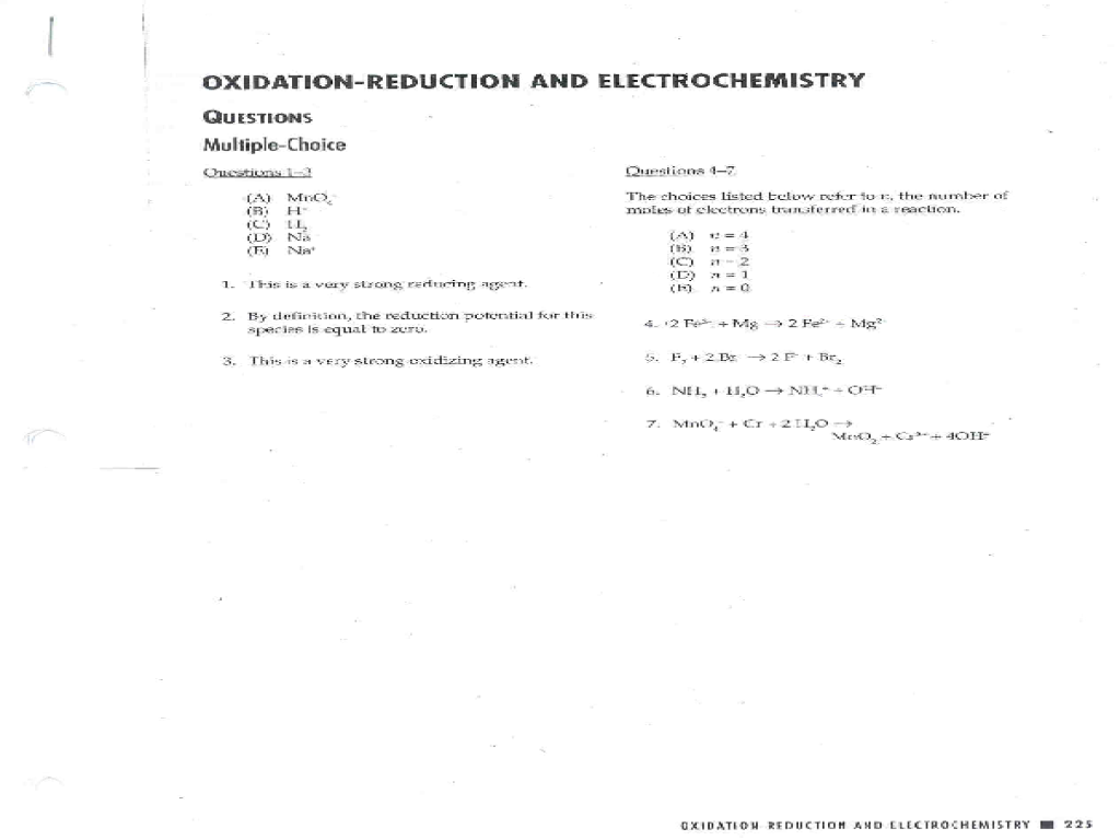 worksheet Electrochemistry Worksheet oxidation reduction and electrochemistry 9th 12th grade worksheet lesson planet