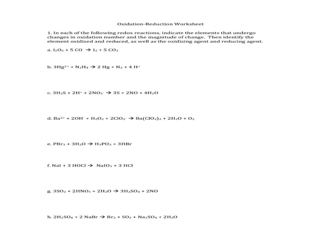 oxidation and reduction worksheet Termolak – Redox Worksheet