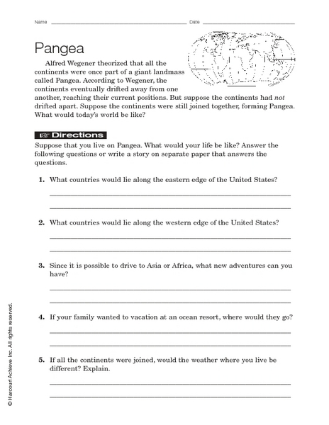 Printables Pangaea Worksheet pangaea 7th 9th grade worksheet lesson planet