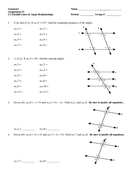 Parallel Lines and Angle Relationships 9th - 12th Grade Worksheet ...