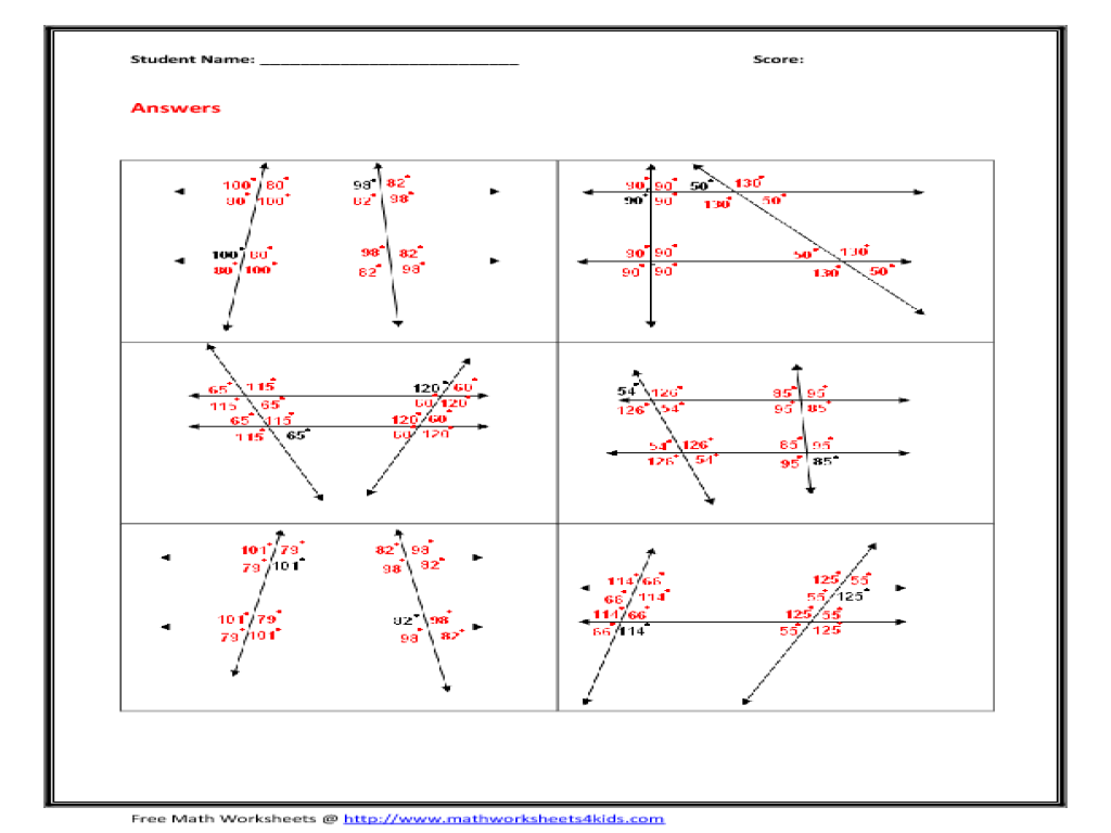 Parallel Lines and Transversal Wroksheet 10th Grade Worksheet ...