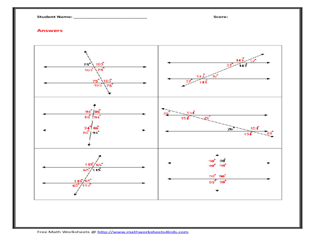 Parallel Lines and Transversals Worksheet Worksheet for 10th Grade