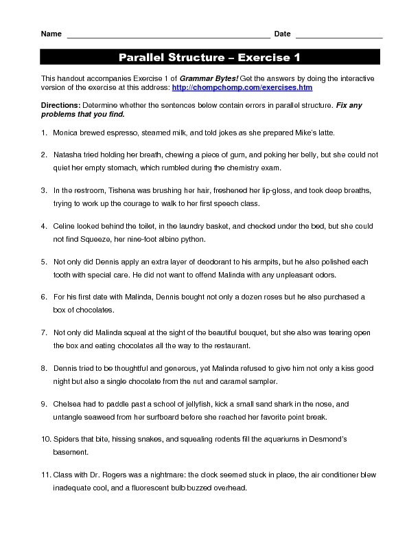 Worksheet Parallel Structure Worksheet parallel structure exercise 1 4th 11th grade worksheet lesson planet