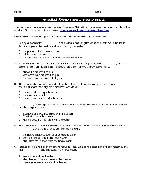 Parallelism Worksheets For High School Worksheet Printable Blog – Parallelism Worksheet