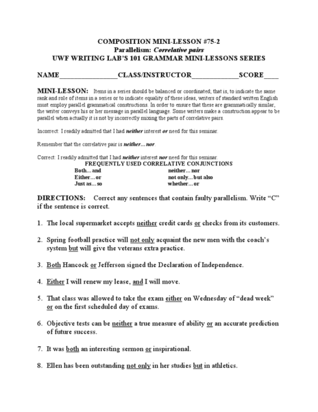 Printables Parallelism Worksheet parallelism correlative pairs 6th 8th grade worksheet lesson planet