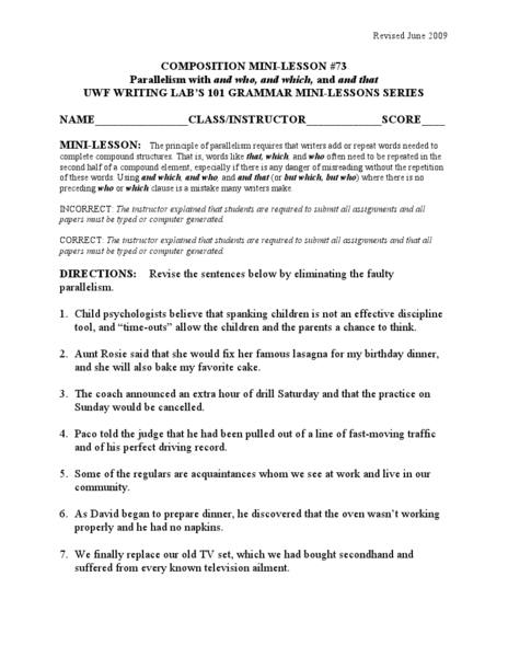 Worksheet Parallelism Worksheet parallelism with and who which that 5th 10th grade worksheet lesson