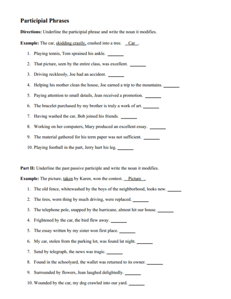 English worksheets: Participle phrase WS with answers