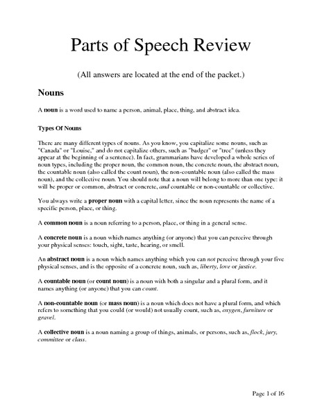 Review Parts of Speech Worksheet Parts of Speech Review 6th