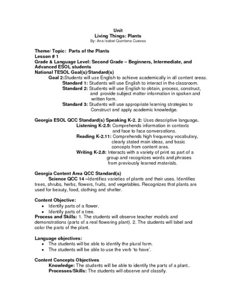 parts of essay lesson plan Lesson plan in english grade 7 (section: adelfa, cattleya,  gladiola, carnation) i objectives at the end of the lesson,.