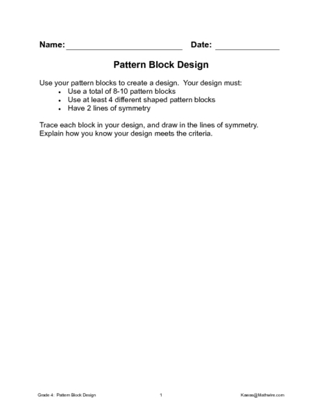 Free Worksheets : pattern block design worksheets Pattern Block ...