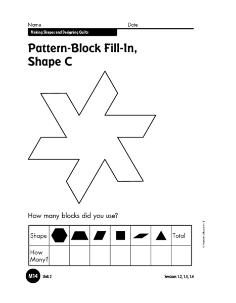 Printables Pattern Block Worksheets pattern block fill in shape c 1st 3rd grade worksheet lesson planet