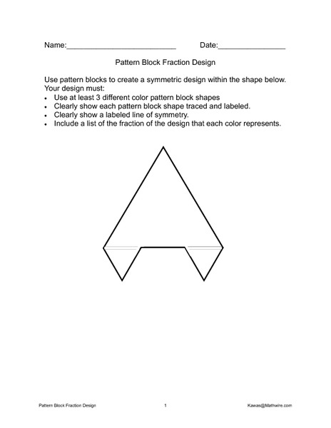 Pattern Block Fraction Design 3rd - 4th Grade Worksheet | Lesson ...