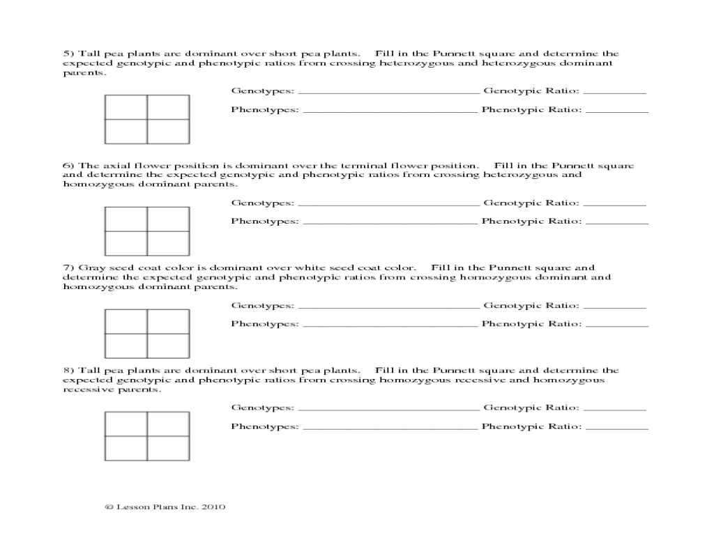 Worksheets Punnett Square Worksheet Answers pea plant punnett square worksheet 7th 12th grade lesson planet