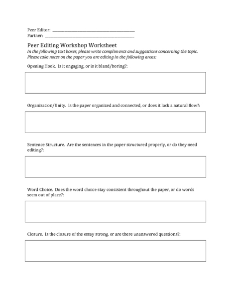 essay peer review worksheet. Black Bedroom Furniture Sets. Home Design Ideas