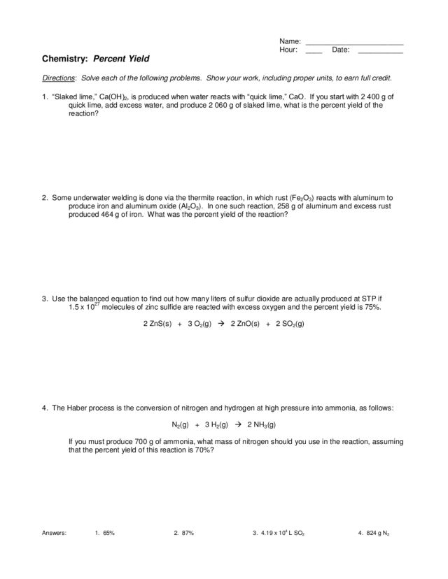 Printables Percent Yield Worksheet percent yield 9th 12th grade worksheet lesson planet