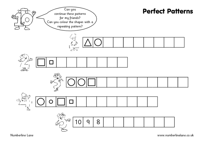 Counting Number worksheets : repeating patterns worksheets eyfs ...