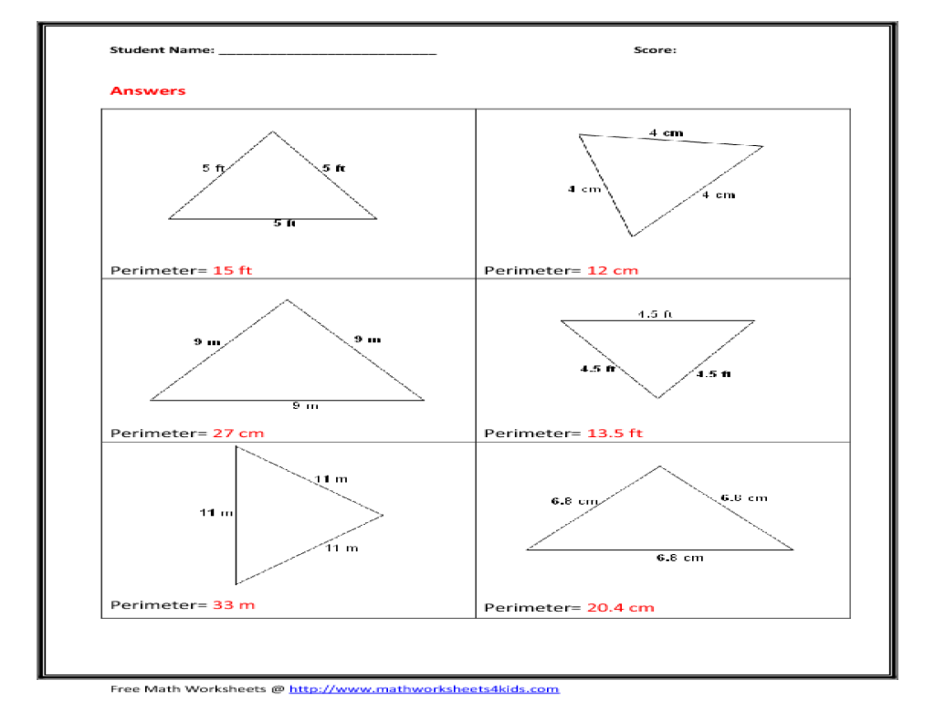worksheet Area And Perimeter Of A Triangle Worksheet finding the area of a triangle worksheet comparing fractions with perimeter equilateral 6th 8th grade tr