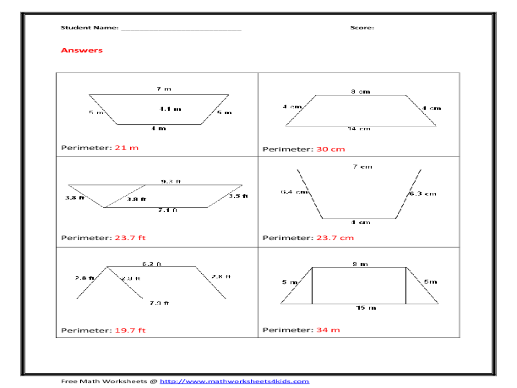 Worksheets Area Of Trapezoid Worksheet perimeter of trapezoid 10th grade worksheet lesson planet
