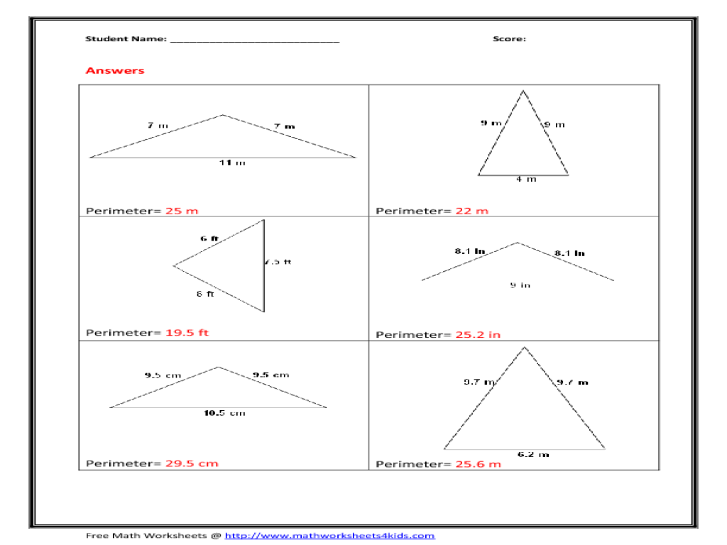 Worksheet Isosceles Triangles Worksheet perimetr of isosceles triangle 9th 10th grade worksheet lesson planet