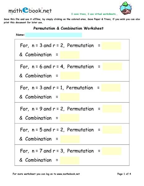 Combinations Worksheet 021 - Combinations Worksheet