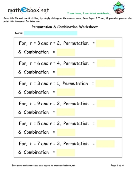 Permutation and Combination Worksheet 7th - 9th Grade Worksheet ...