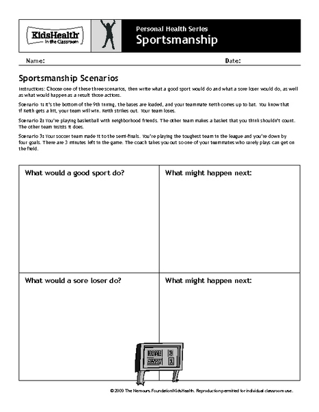 Personal Health Series: Sportsmanship 4th - 6th Grade Worksheet ...