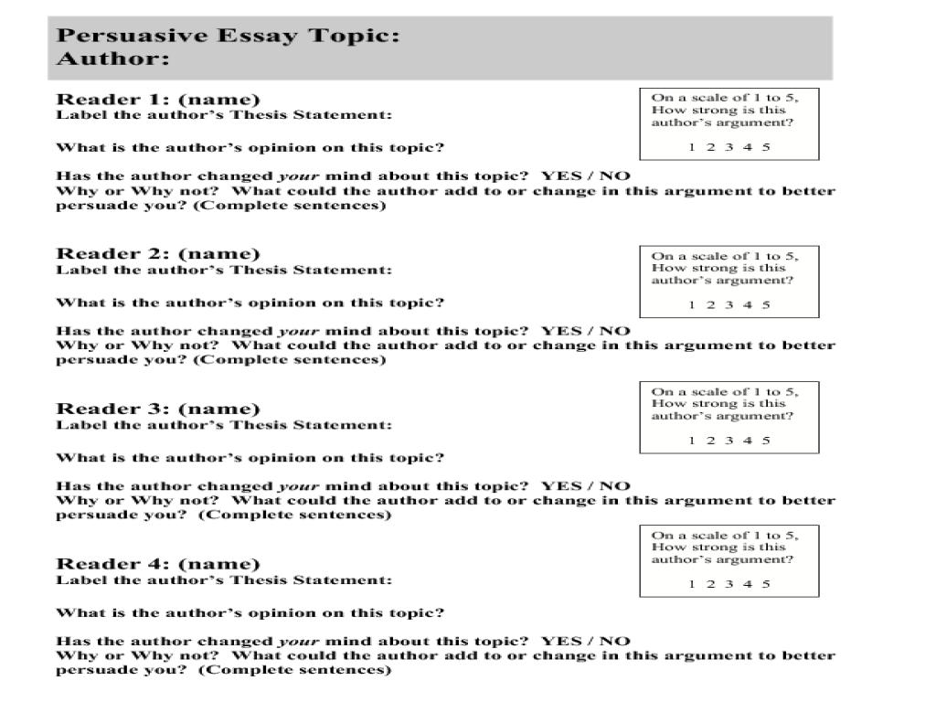 Persuasive essay evaluation?