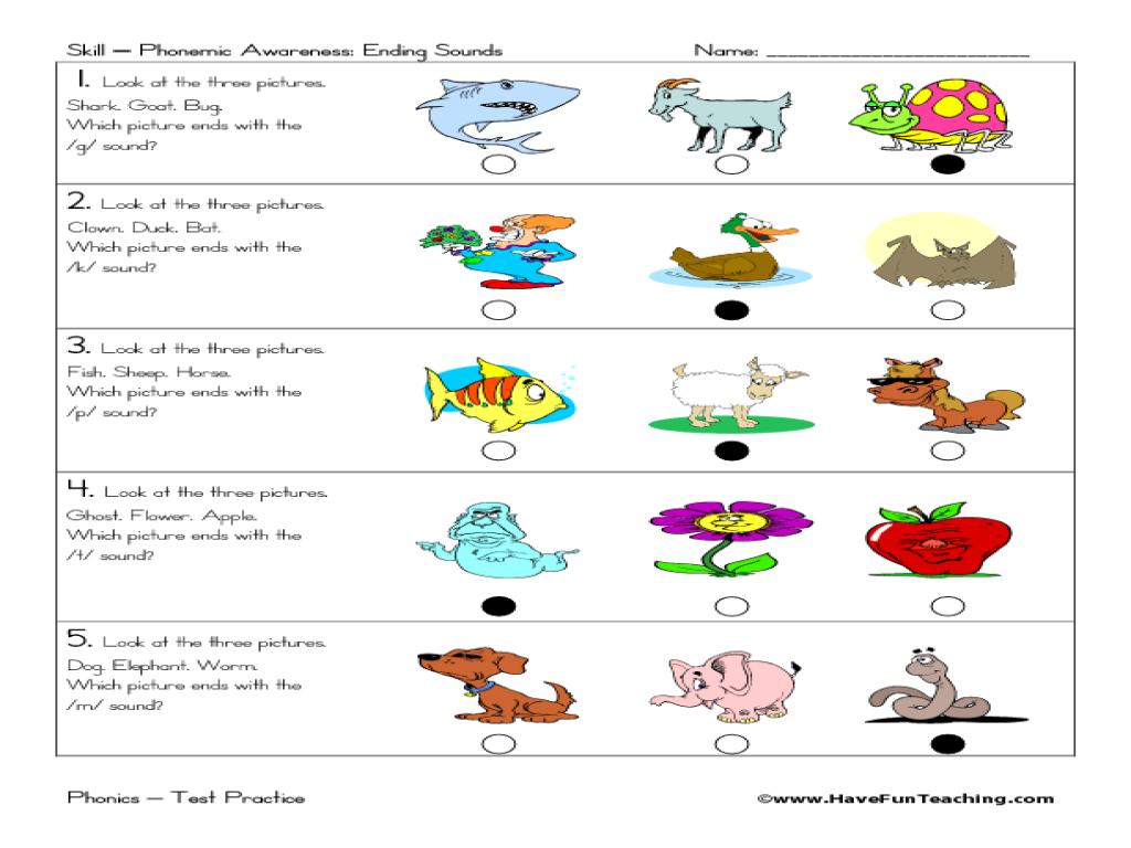 worksheet Phonological Awareness Worksheets phonemic awareness ending sounds 1st 2nd grade worksheet lesson planet