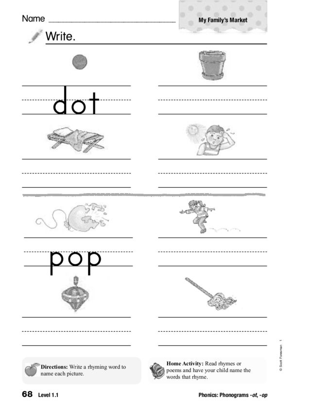 Phonics: Phonograms ot and op 1st - 2nd Grade Worksheet | Lesson ...