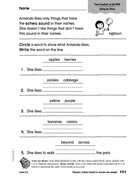 Phonics: Schwa Sound in Across and People 1st - 2nd Grade ...