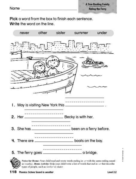 Phonics: Schwa Sound in Weather 1st - 2nd Grade Worksheet | Lesson ...