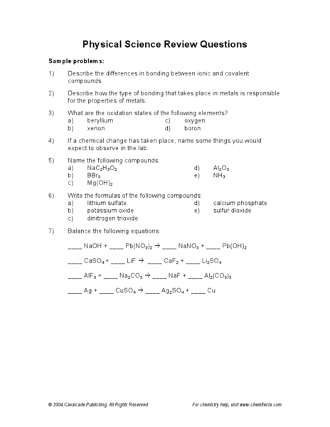 Printables 9th Grade Physical Science Worksheets physical science review questions 7th 9th grade worksheet lesson planet