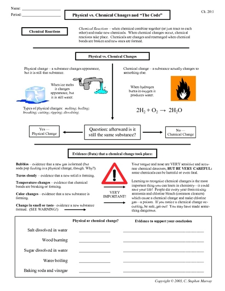 Worksheet Physical And Chemical Changes Worksheet physical vs chemical changes and the code 9th 12th grade worksheet lesson planet