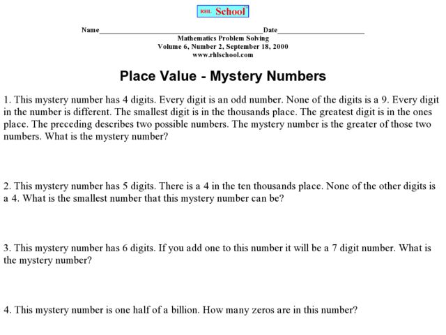 Place Value Mystery Numbers 5th - 6th Grade Worksheet | Lesson Planet