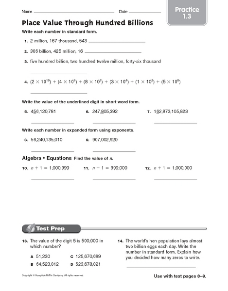Counting Number worksheets : place value riddle worksheets Place ...