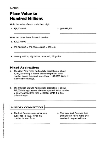 Place Value to Hundred Millions 3rd - 4th Grade Worksheet | Lesson ...