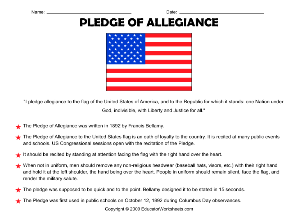 Pledge of Allegiance 3rd - 5th Grade Worksheet | Lesson Planet
