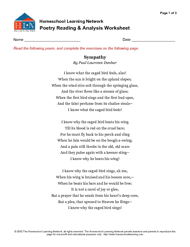 Analyzing Poetry Worksheet Free Worksheets Library | Download and ...