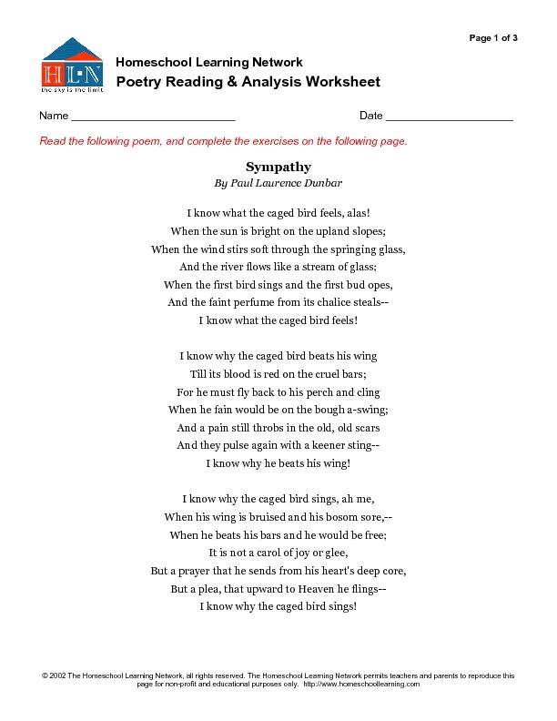 Printables Analyzing A Poem Worksheet analyzing a poem worksheet davezan poetry reading and analysis 7th 9th grade worksheet
