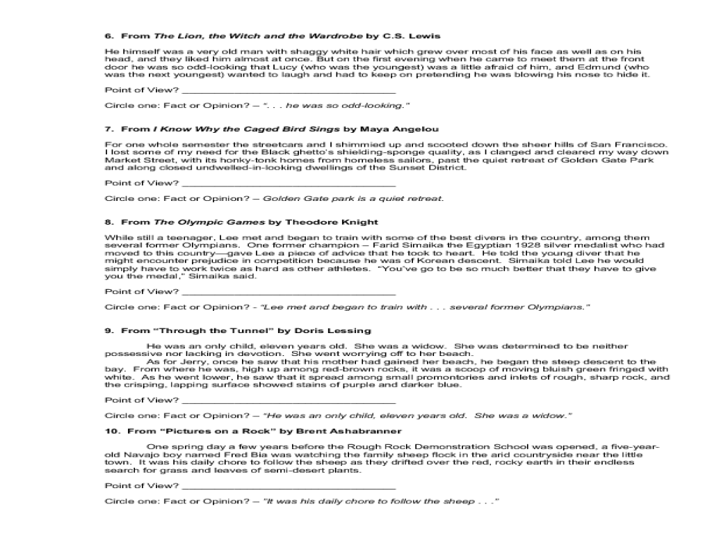 fact and opinion worksheet - laveyla.com