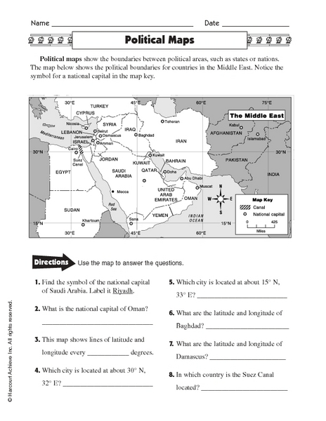 Worksheets Types Of Maps Worksheets political maps 5th 6th grade worksheet lesson planet