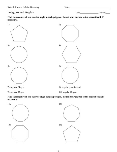 Sum Of Interior Angles Of A Polygon Worksheet Worksheets for all ...