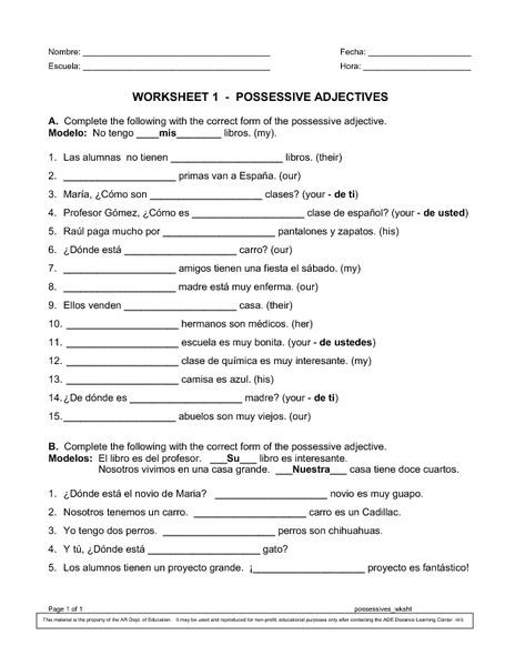 Possessive adjectives worksheets for grade 5
