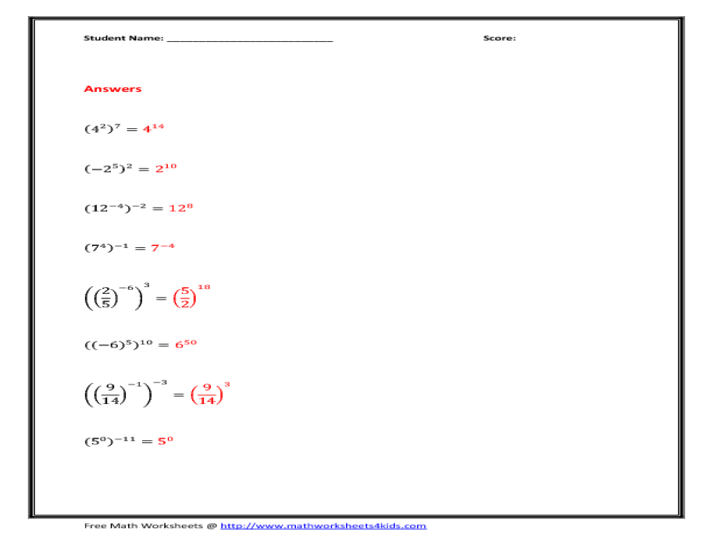 exponents and multiplication worksheet